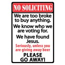 """Rivers Edge Sign 12""""x17"""" """"No Soliciting"""""""