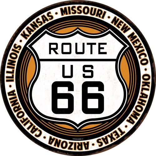"""Open Road Brands Die Cut Emb Tin Sign Route 66 12""""x12"""" Rnd"""