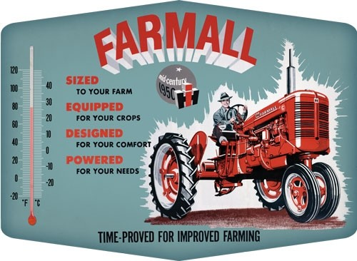 Open Road Brands Thermometer Sign Farmall Improved Emb Tin