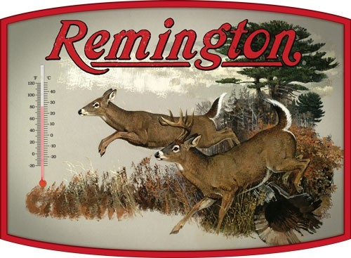 Open Road Brands Thermometer Tin Sign Remington Whitetail