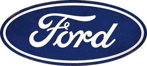 Open Road Brands Hollow Curved Tin Button Ford Logo Blue