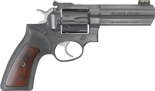 "Ruger Gp100 .357mag 4.20"" Adj. Blue Rubber W/hardwood 7-shot"